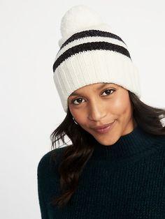 317c4a24f5c Printed Sweater-Knit Pom-Pom Beanie for Women