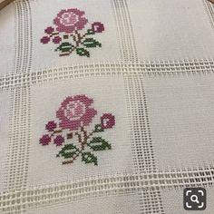 Cross-Stitch flowers stitch with purple and green colors. Cross Stitch Borders, Cross Stitch Flowers, Cross Stitch Designs, Cross Stitching, Cross Stitch Patterns, Embroidery Stitches, Embroidery Patterns, Hand Embroidery, Crochet Patterns