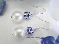 Swarovski Pearl Blue Sapphire Crystal Earrings, $19.99 by DebraAnnCreations.etsy.com Copyright