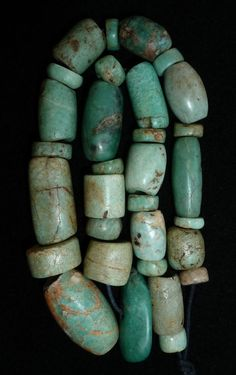 (B) 31 Ancient Neolithic Amazonite Old Beads Berber Mauritania Morocco NR