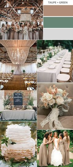 taupe and green neutral wedding colors for fall #weddingcolors #fallwedding #weddingideas #weddingdecor