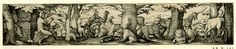 Orpheus and the animals; Orpheus seated at left, in profile to right; various animals including a unicorn, lion, hare, bear standing amongst trees. 1540 Etching Print made by: Virgil Solis