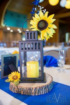 Summer wedding invitation sunflower wedding invitations summer lantern with sunflower wedding centerpiece maybe a few like this along with the vases of sunflowers junglespirit Images