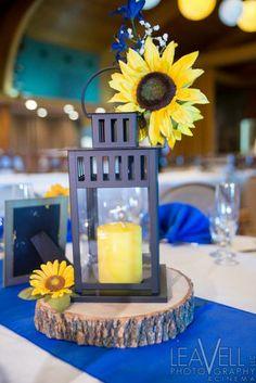 Lantern with sunflower wedding centerpiece