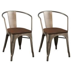 Carlisle Dining Chair with Wood Seat - Distressed Metal (Set of 2)- only $125 at…