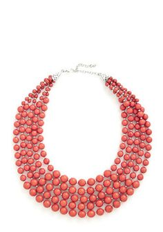 Love this #coral necklace with a green or cobalt blue dress or shirt!  You Bijou Necklace in Strawberry