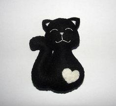 Cute Wool Felt Cat Ornament Black Cat Ornament Wall Decor