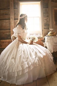 """This Civil War-era gown was sewn almost completely by hand by this young lady. What am impressive wedding gown and blog she has! The Story of a Seamstress: 1860s """""""