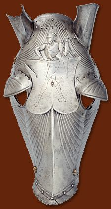 armour for horse's head etched with the motif of a fool, southern German, Berlin, Deutsches Historisches Museum – Bildarchiv, Bildnr. Horse Mask, Horse Armor, Arm Armor, Horse Head, War Horses, Battle Dress, Medieval Armor, Military Uniforms, 15th Century