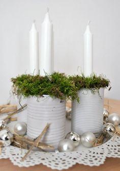 Újragondolt adventi koszorú - Masni / Reused advent calendar made of tin cans and candles, DIY