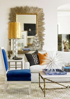 Eclectic Hollywood Regency living room.