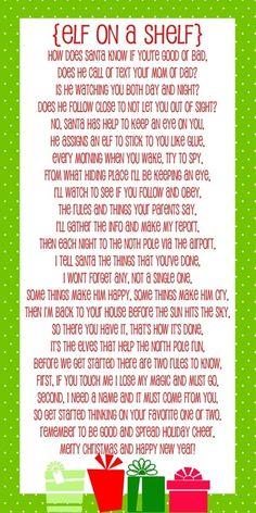 Elf on a Shelf Poem Printable