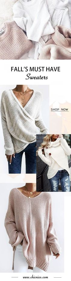 must have fall fashion sweater 2018 Loose Knit Sweaters, Fall Sweaters, Oversized Sweaters, White Sweaters, Grey Sweater, Sweater Cardigan, Winter Wear, Fall Winter Outfits, Fall Fashion