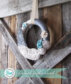 handmade feather wreath