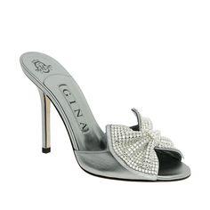 Gina shoes - Chance.  Swarovski 'Crystal' diamante bow adorn this metallic gunmetal mist grey leather mule on a 100mm heel.