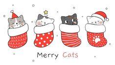 Christmas Favors, Christmas Coasters, Christmas Card Crafts, Christmas Art, Easy Christmas Drawings, Christmas Pictures, Cartoon Style, Chat Kawaii, Cat Character