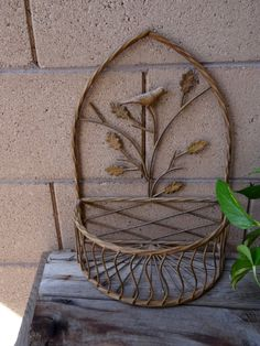 Vintage Wrought Iron Wall Planter Vintage Wire Shelf, Indoor Outdoor Wall Planter With Leaf And Bird Design, Cottage Chic, French Decor by TiesofMyFather on Etsy Outdoor Walls, Indoor Outdoor, Bottle Garden, Unique Gardens, Wire Shelving, Iron Wall, French Decor, Bird Design, Cottage Chic