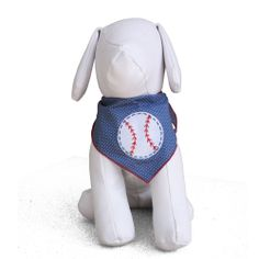 Dog Bandana Kerchief with Baseball Applique-- Small/Large sizes available