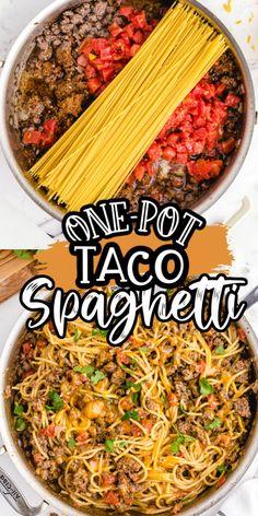 Taco Spaghetti, Spaghetti Recipes, Spaghetti Noodles, Beef Spaghetti Recipe, Western Spaghetti Recipe, Beef Taco Recipe, Hamburger Recipes, Meat Recipes, Yummy Recipes
