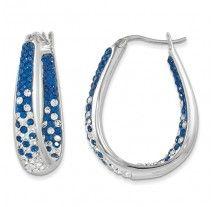 Spirit Collection- Blue & White Team Colors Sterling Silver Swarovski Elements Spirit Earrings