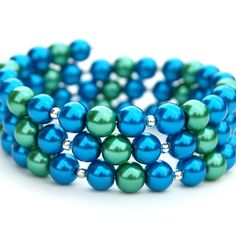 Blue and green wrap bracelet