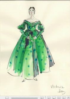 """Costume illustration for """"Queen Victoria"""" from 'The Young Victoria' Design by Sandy Powell Theatre Costumes, Movie Costumes, The Young Victoria, Queen Victoria, Fashion History, Fashion Art, Victoria Series, Sandy Powell, Victorian Era Fashion"""