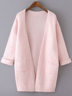 Pink Long Sleeve Pockets Knit Loose Cardigan, Fast Shipping