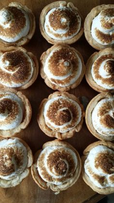 Lemon meringue  tarts  caramilized to perfection using an old fashioned blow tourch cheers