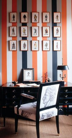 Harlem Landmark Striped Study Home Office TraditionalNeoclassical by Sheila Bridges Design Inc Modern Home Interior Design, Interior Design Inspiration, Home Design, Blog Design, Bedroom Inspiration, Design Ideas, Style Key West, Elle Decor, Home Office