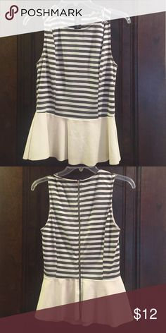 Grey and white striped peplum blouse Grey and white striped peplum blouse with white pleather peplum skirt and zipper down the back from Lord & Taylor Lily White  Tops Blouses