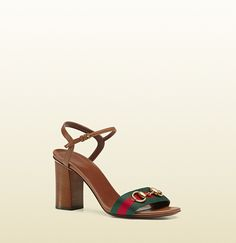 6c704dcb5ab Gucci - leather mid-heel t-strap sandal with web 384817H90208462 Gucci  Horsebit