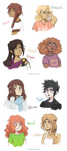that reminded me I haven't posted these oldish sketches of the pjo girls haa