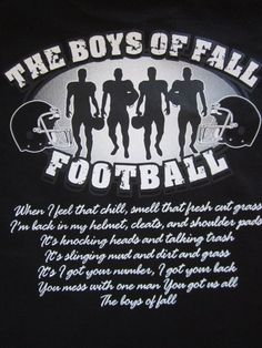 Items similar to Custom Personalized Unisex The Boys of Fall Football T-Shirt w/ Player # Available in Most Team Colors in Sizes on Etsy Football Banquet, Football Cheer, Fall Football, Football Love, High School Football, Football Season, Football Shirts, Youth Football, Football Sayings