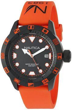 Nautica NAD10077G Unisex Orange Watch NSR 100 FLAG Black Matte Case