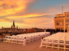 Riverview Room rooftop terrace at sunset!