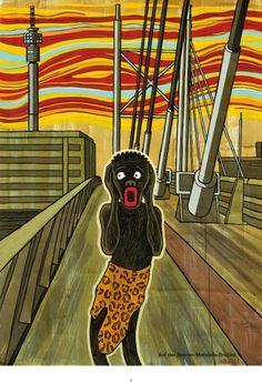 """Diese Zeichnung erinnert an Edvard Munchs """"Der Schrei"""". Statt einem weißen..."""