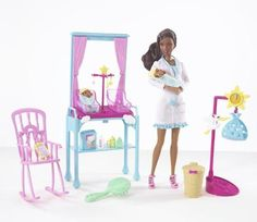 *2009 I can be newborn baby doctor black Barbie doll 1 #P3595