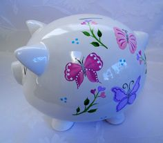 Personalized Piggy bank piggy bank with butterflies painted
