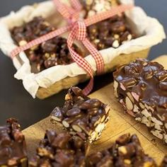 Riverford's festive rocky road. Use a good quality chocolate for this recipe. We mix milk and dark chocolate together to make a rich but not bitter tasting mixture. Perfect as a gift, or a treat to share.