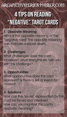 """Tarot Tips http://arcanemysteries.tumblr.com/ Four Tips On Reading """"Negative"""" Tarot Cards. #tarotcardstips #learningtarotcards"""