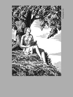 Rockwell Kent bookplate of woman reading by tree at Bookplate Ink bookplate
