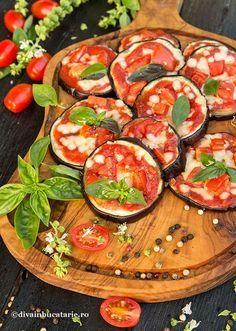 PIZZETTE DE VINETE | Diva in bucatarie Summer Recipes, Fall Recipes, Food Plating, Ratatouille, Caprese Salad, Bruschetta, Mozzarella, Eggplant, Sushi