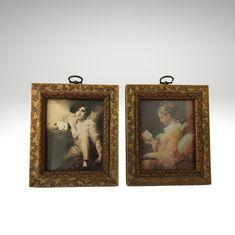 Pair of Small Framed Classics by Franklin Picture Company | Etsy Picture Company, Fish Shapes, Classic Paintings, Girl Reading, Gold Paint, Chinoiserie, Painting Frames, Antique Gold, Photo Wall Art
