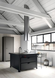 Total white wood with black and grey metal #kitchen #design #industrial