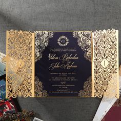 Exquisite Moroccan-Inspired Invitation with Gold Plated image 2 Luxury Wedding Invitations, Wedding Invitation Cards, Wedding Cards, Wedding Favors, Prom Invites, Wedding Stage, Our Wedding, Wedding Ideas, Dream Wedding