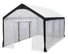 Amazon.com : Greenhouse-Spring Gardener Peak Roof Walk In Portable Garden Hot House Fully Enclosed - Screend Windows for Ventilation, Zippered Door (10'W x 20'L x 9'H) Large DIY Hot House for Backyards : Attached Greenhouses : Garden & Outdoor
