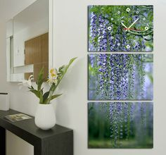 Gorgeous Wisteria Modern Wall Clock On Canvas Prints Set Of 3 FRAMED