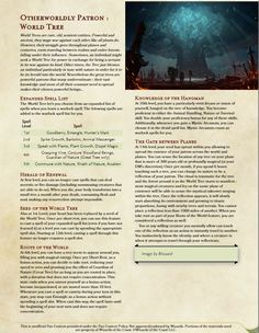 Homebrewing class Warlock Patron : World Tree Draft, thank you for the feedbacks ! Lets get this tree growing ! Dungeons And Dragons Pdf, Dungeons And Dragons Characters, Dungeons And Dragons Homebrew, Dnd Characters, Warlock Class, Warlock Dnd, Dnd Classes, Dnd 5e Homebrew, Dnd Monsters