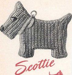 Vintage Crochet PATTERN Scottie Dog Pot Holder a by BlondiesSpot