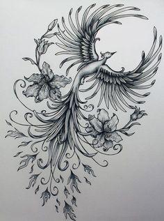 Phoenix original art example of jennifermckayhiggins - Tatoo. Piercings, Piercing Tattoo, Tattoo Drawings, Body Art Tattoos, Tatoos, Ink Tattoos, Ship Tattoos, Flame Tattoos, Stomach Tattoos